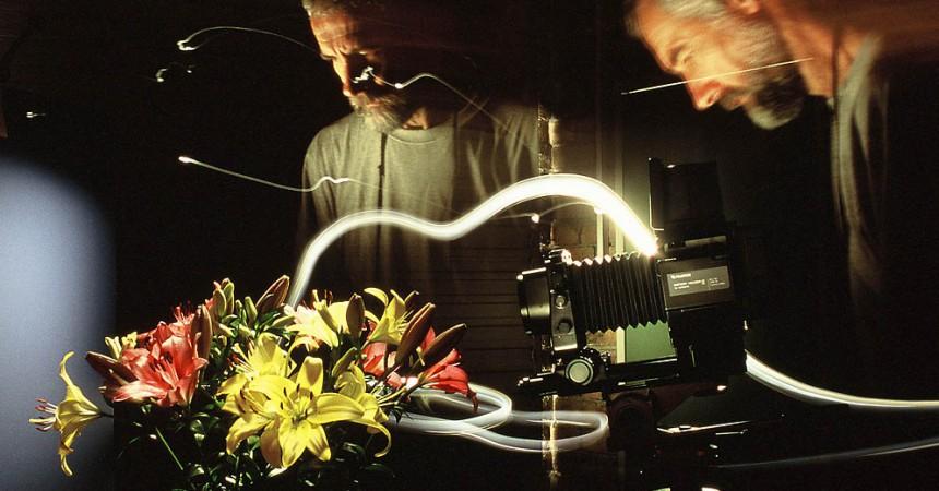 Richard Walker, Light Painting Photographer, Hosemaster Light Painting, Fujifilm GX680 camera, floral portraits, studio flower photography, fibre-optic hose, fiber-optic hose,