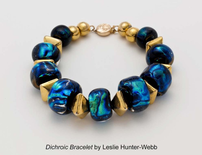 Dichroic bracelet by jeweller, Leslie Hunter-Webb