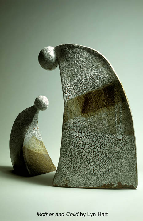 Blue Mountains potter Lyn Hart created this ceramic duo, Mother and Child