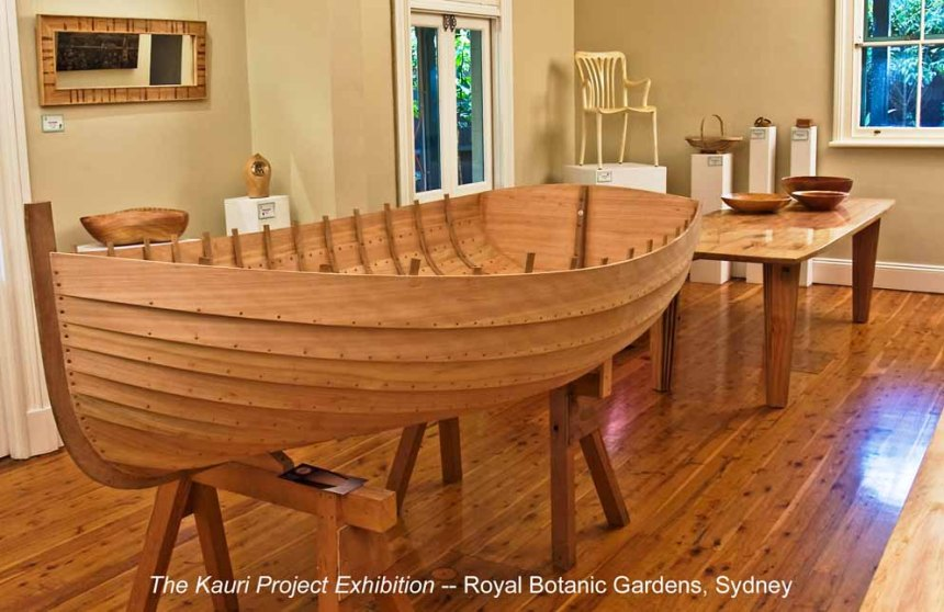 All items in this exhibition at The Royal Botanic Gardens in Sydney were made from one giant Kauri tree